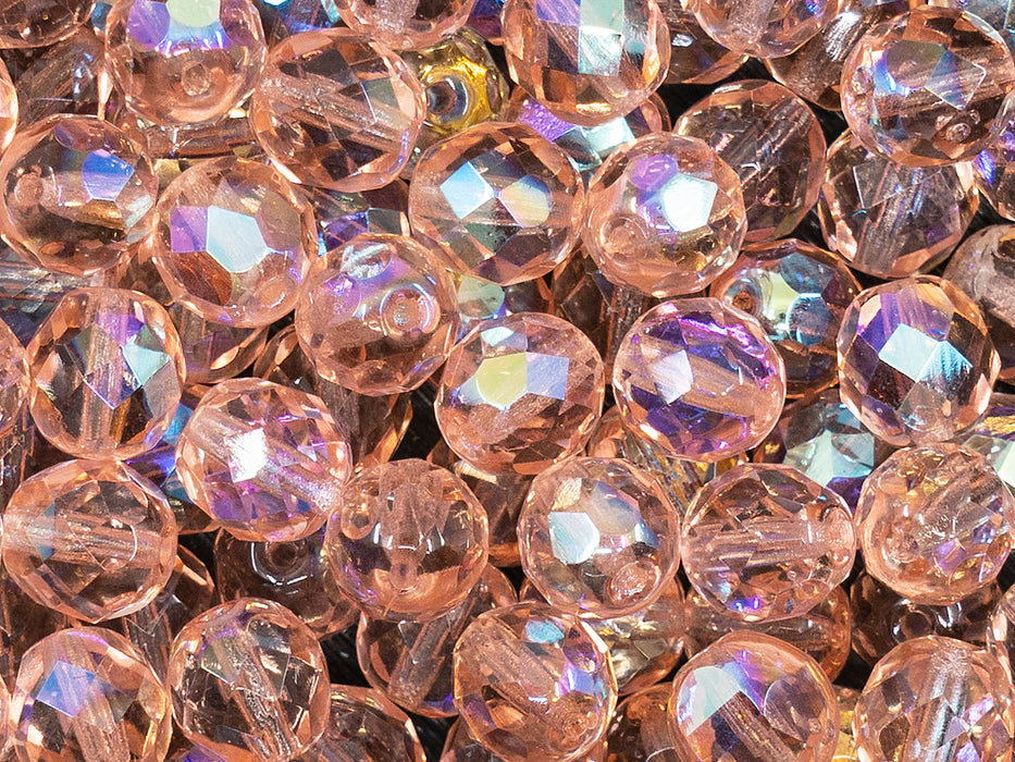 25 pcs Fire Polished Faceted Beads Round, 8mm, Rosaline AB, Czech Glass