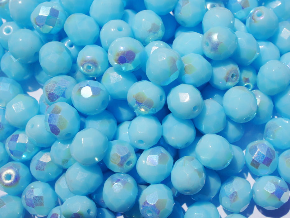 25 pcs Fire Polished Faceted Beads Round, 8mm, Opaque Aquamarine AB, Czech Glass