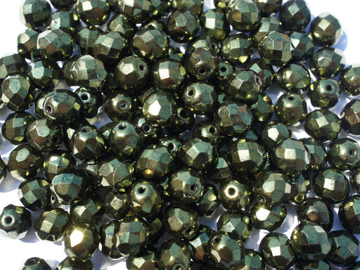25 pcs Fire Polished Faceted Beads Round, 8mm, Metallic Green, Czech Glass