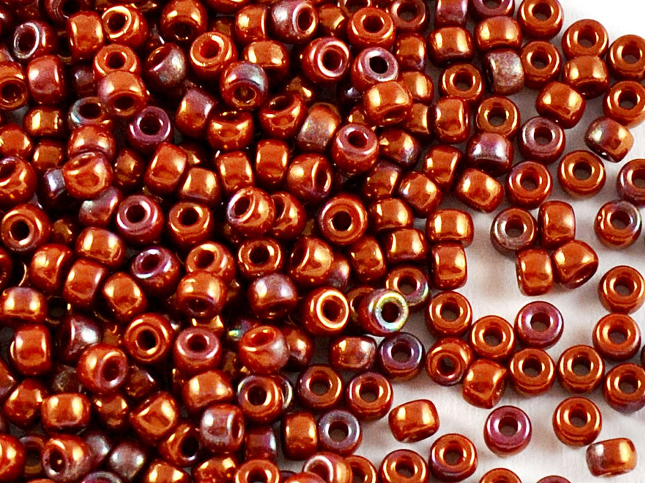 10 g 8/0 Seed Beads MATUBO, Opaque Coral Red Vega Iris, Czech Glass
