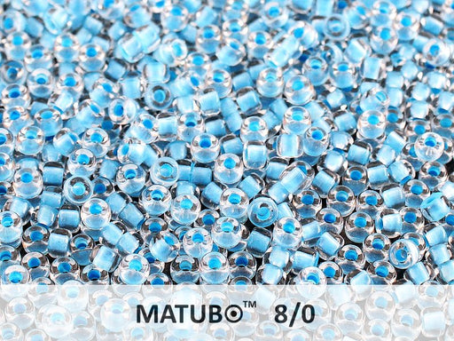 10 g 8/0 Seed Beads MATUBO, Crystal Blue NEON Lined, Czech Glass