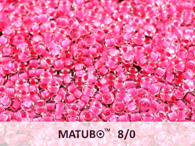 10 g 8/0 Seed Beads MATUBO, Crystal Pink NEON Lined, Czech Glass
