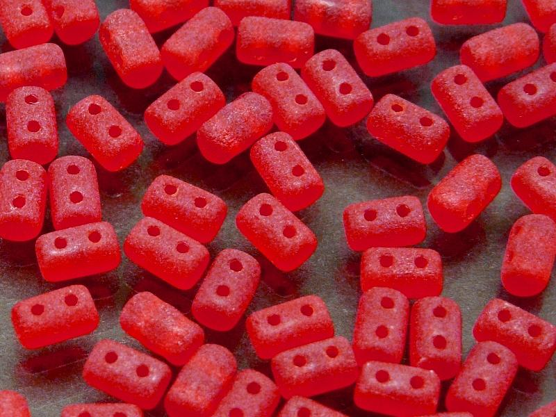 20 g 2-hole Rulla™ Seed Beads, 3x5mm, Ruby Matte, Czech Glass