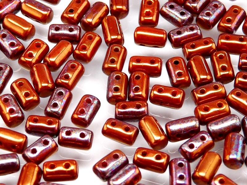 2-hole Rulla™ Seed Beads, 3x5mm, Coral Red Luster AB, Czech Glass