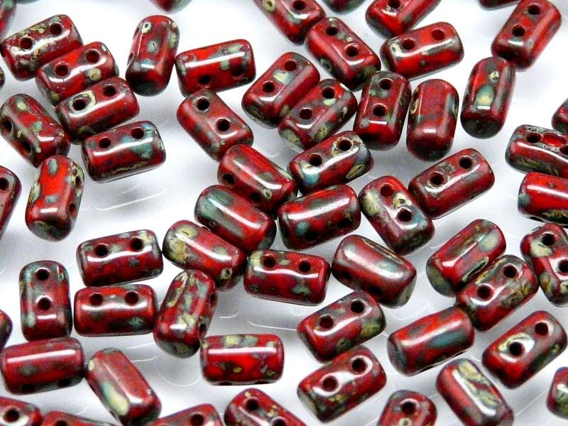 20 g 2-hole Rulla™ Seed Beads, 3x5mm, Coral Red Travertine Dark, Czech Glass