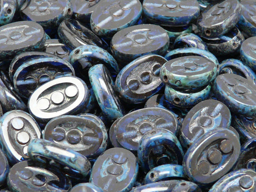 10 pcs Table Cut Beads 3-Dot Oval, 14x9mm, Deep Blue Travertine, Czech Glass