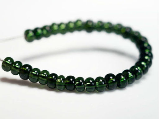 20 g 9/0 Seed Beads Preciosa Ornela, Green Silver Lined, Czech Glass