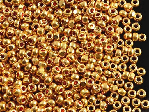 20 g 9/0 1-Cut Seed Beads Charlotte Preciosa Ornela, Bright Gold Metallic, Czech Glass