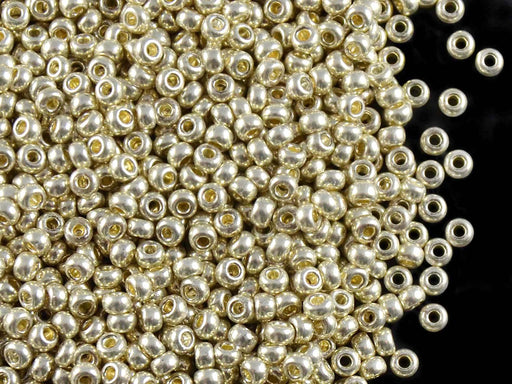 20 g 9/0 Seed Beads Preciosa Ornela, Silver Metallic, Czech Glass