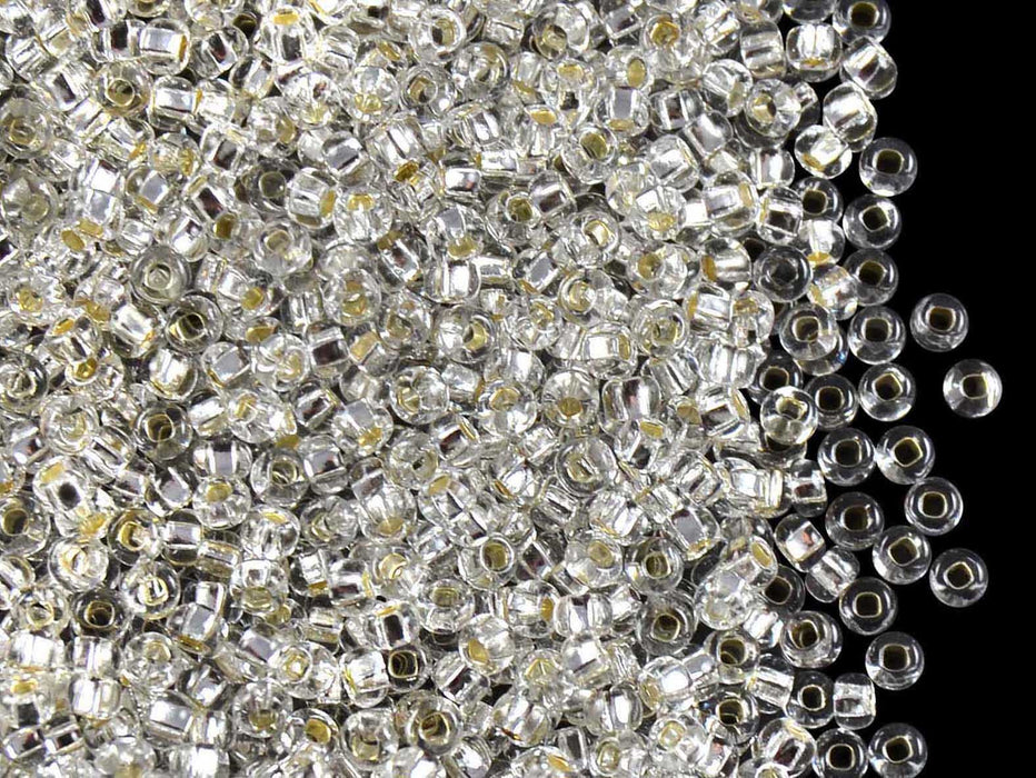 20 g 9/0 Seed Beads Preciosa Ornela, Crystal Clear Silver Lined, Czech Glass