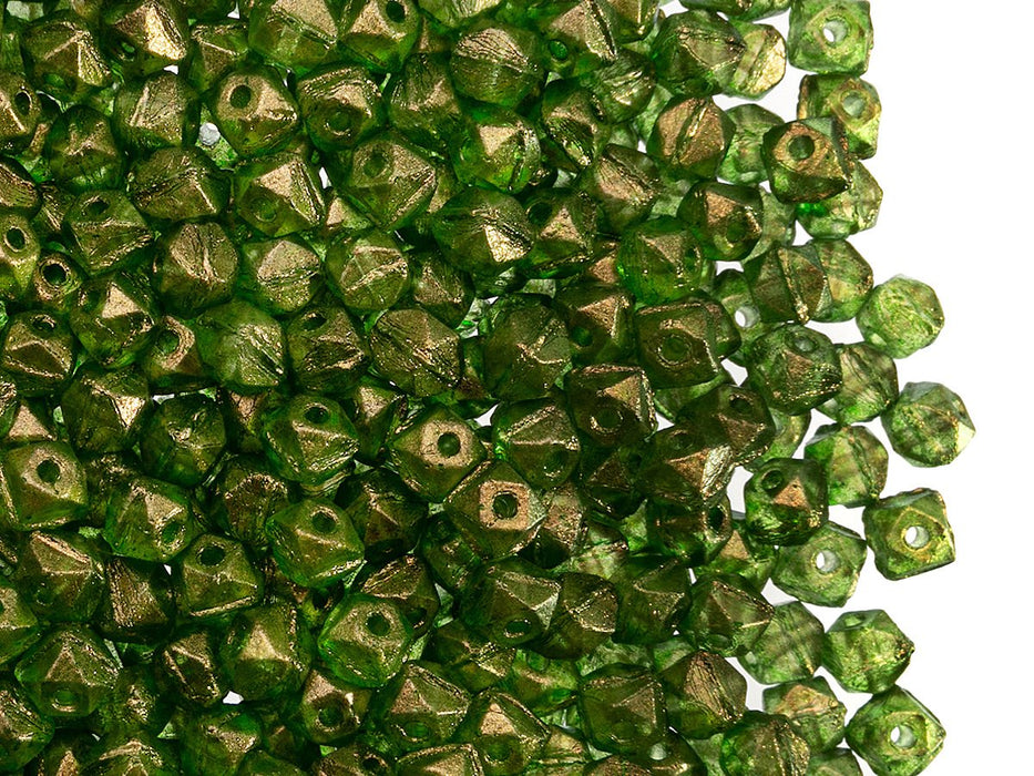Vintage Cut Nuggets Beads 4 mm, Crystal Golden Touch Green, Czech Glass
