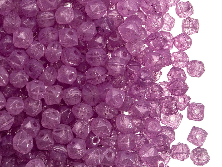 Vintage Cut Nuggets Beads 4 mm, Transparent Amethyst, Czech Glass