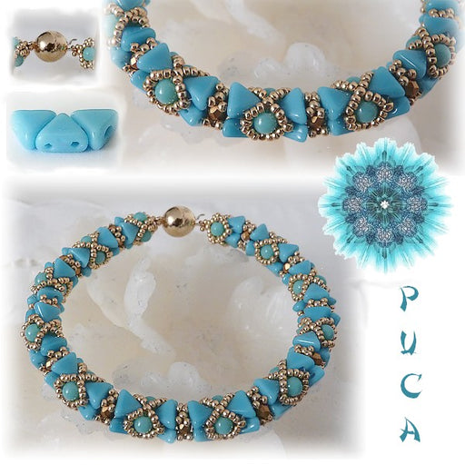 50 pcs Khéops® Par Puca® 2-hole Beads, Triangle 6mm, Opaque Blue Turquoise Silk Matte, Czech Glass