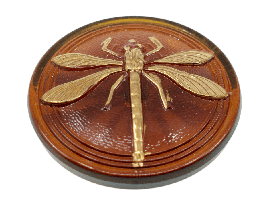 1 pc Czech Glass Cabochon Topaz Gold Dragonfly (Smooth Reverse Side), Hand Painted, Size 18 (40.5mm)