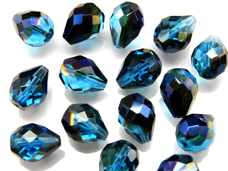 10 pcs Fire Polished Faceted Beads - Pear, 10x13mm, Transparent Blue AB, Czech Glass