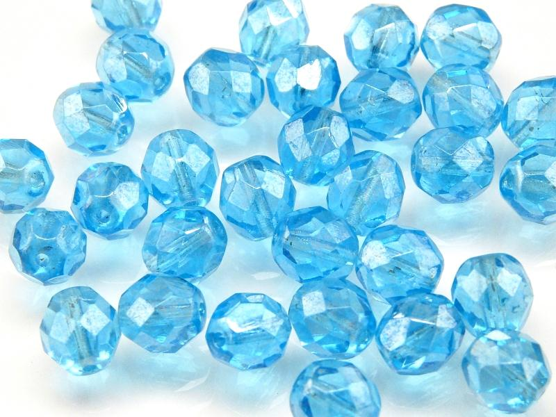 25 pcs Fire Polished Faceted Beads Round, 8mm, Aquamarine Luster, Czech Glass