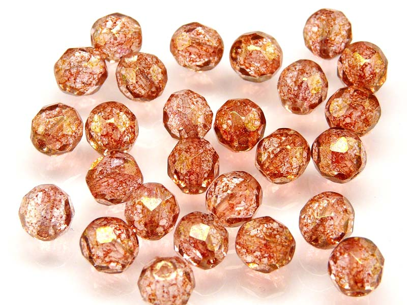 25 pcs Fire Polished Faceted Beads Round, 8mm, Crystal Speckled Red Luster, Czech Glass