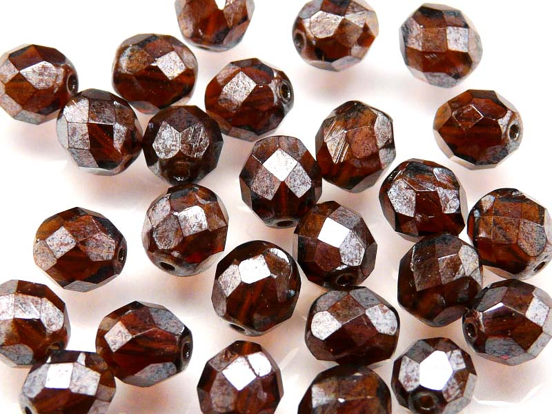 Fire Polished Faceted Beads Round, 8mm, Brown Hematite (Gray) Luster, Czech Glass