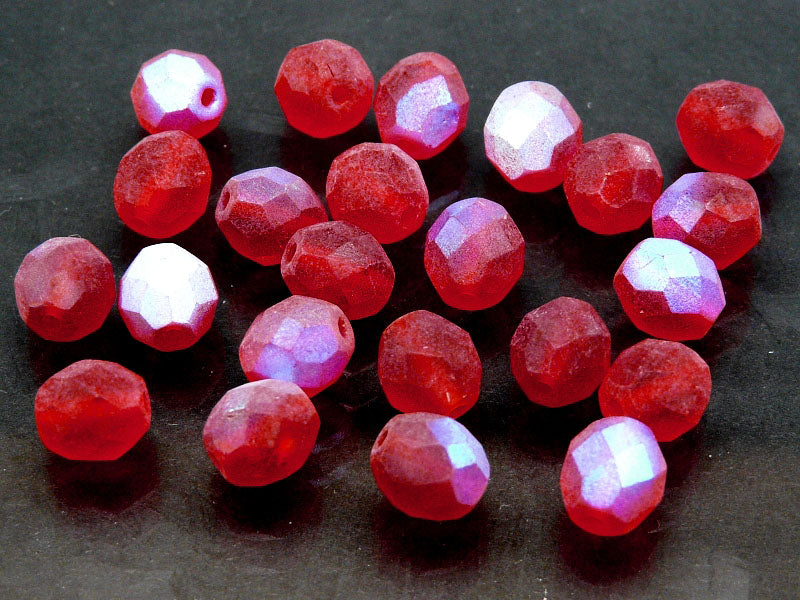 25 pcs Fire Polished Faceted Beads Round, 8mm, Matte Siam Ruby AB, Czech Glass