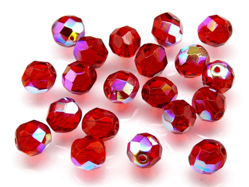 25 pcs Fire Polished Faceted Beads Round, 8mm, Siam Ruby AB, Czech Glass