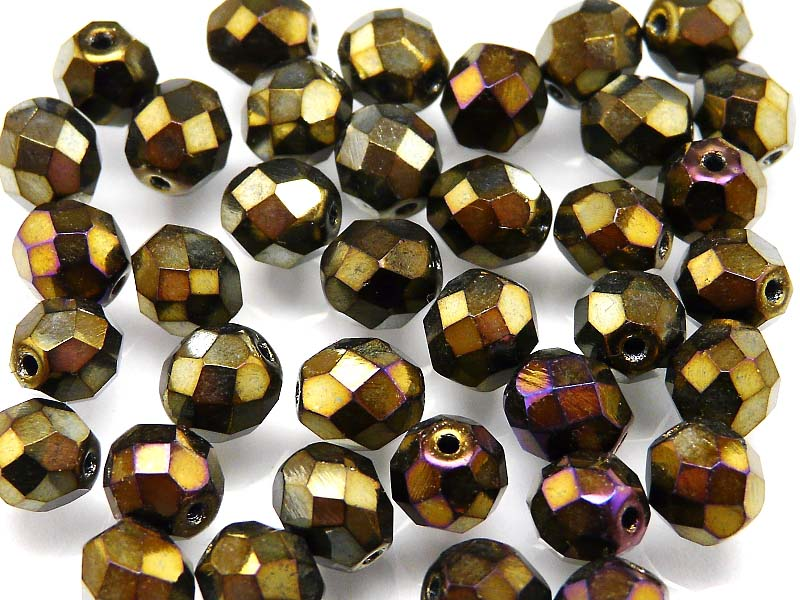 25 pcs Fire Polished Faceted Beads Round, 8mm, Jet Brown Iris, Czech Glass