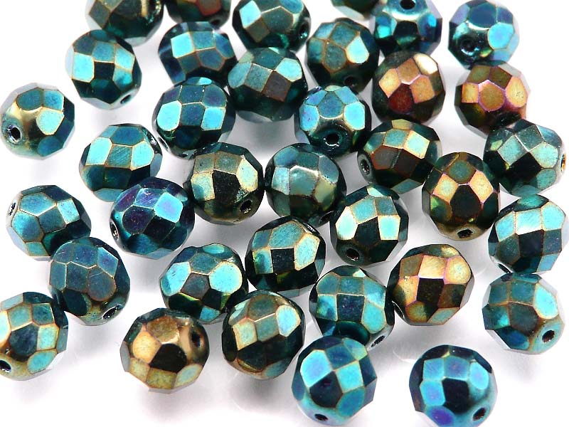 25 pcs Fire Polished Faceted Beads Round, 8mm, Jet Green Blue Iris, Czech Glass