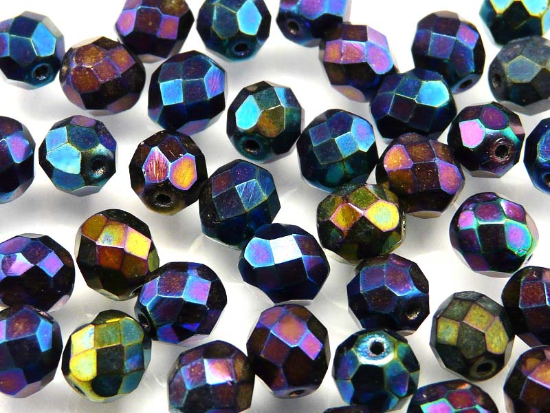 25 pcs Fire Polished Faceted Beads Round, 8mm, Iris Mix, Czech Glass