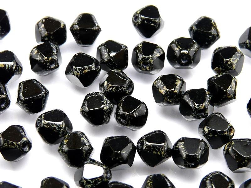 25 pcs Fire Polished Faceted Beads Round, 8mm, Jet Picasso, Czech Glass