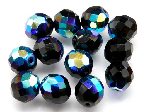 10 pcs Fire Polished Faceted Beads Round 11mm, Jet Black Blue AB, Czech Glass