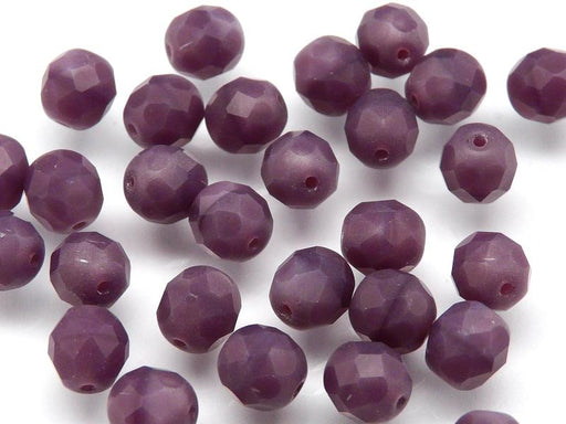 25 pcs Fire Polished Faceted Beads Round, 8mm, Violet Matte Opaque, Czech Glass