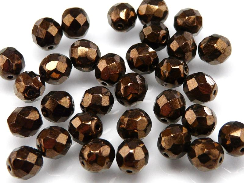 25 pcs Fire Polished Faceted Beads Round, 8mm, Jet Bronze, Czech Glass