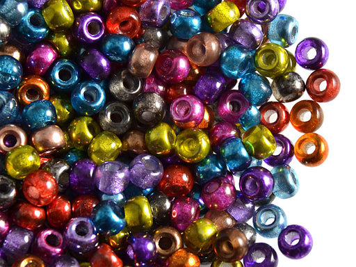 50 pcs Pony Pressed Beads, 2mm Hole, 5.5mm, Semi Apollo Mix, Czech Glass