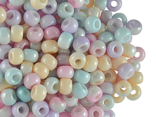50 pcs Pony Pressed Beads, 2mm Hole, 5.5mm, Mix Color Half White Luster, Czech Glass
