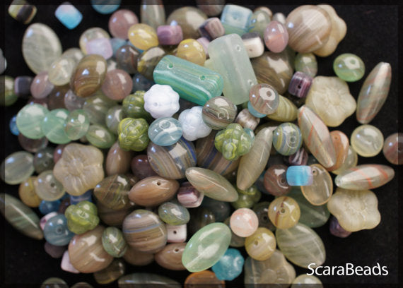 40 g Mix Beads, Various Shapes, Green Stones, Czech Glass