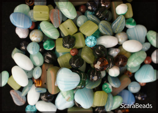 40 g Mix Beads, Various Shapes, Blue Green, Czech Glass