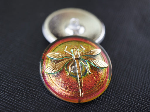1 pc Czech Glass Button, Green Pink Vitrail Gold Dragonfly, Hand Painted, Size 14 (32mm)