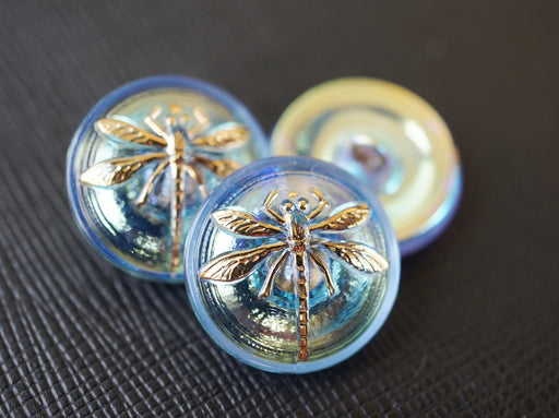 1 pc Czech Glass Button, Crystal Blue Gold Dragonfly, Hand Painted, Size 8 (18mm)