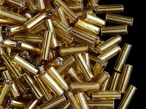 20 g Bugles Preciosa Ornela, Round, Round Hole, 7x2.1mm, Gold Transparent Silver Lined, Czech Glass