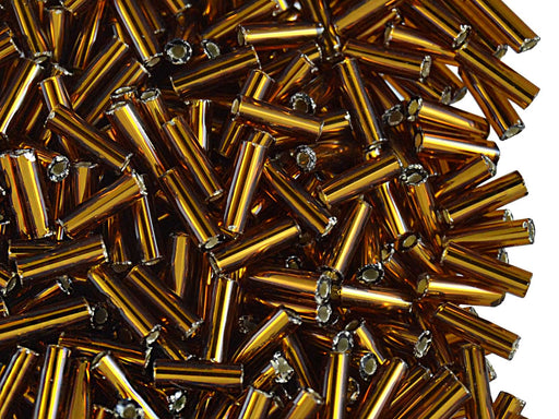 20 g Bugles Preciosa Ornela, Round, Round Hole, 7x2.1mm, Dark Gold Transparent Silver Lined, Czech Glass