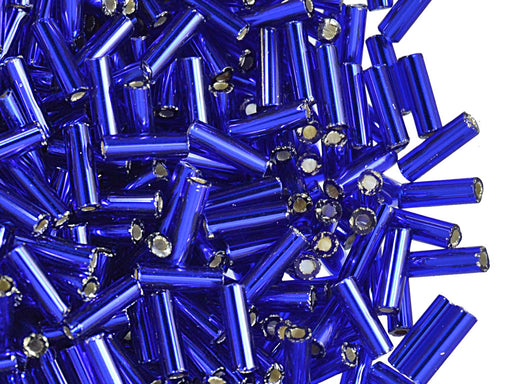 20 g Bugles Preciosa Ornela, Round, Round Hole, 7x2.1mm, Cobalt Transparent Silver Lined, Czech Glass
