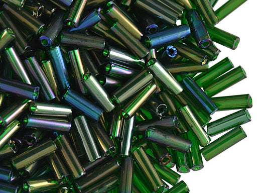 20 g Bugles Preciosa Ornela, Round, Round Hole, 7x2.1mm, Dark Green Transparent Iris, Czech Glass