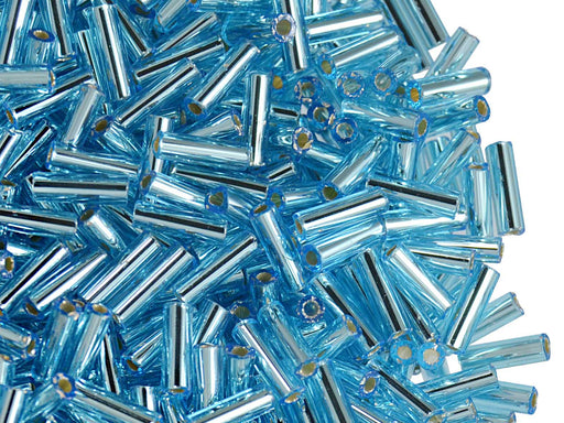 20 g Bugles Preciosa Ornela, Round, Round Hole, 7x2.1mm, Light Aqua Silver Lined, Czech Glass