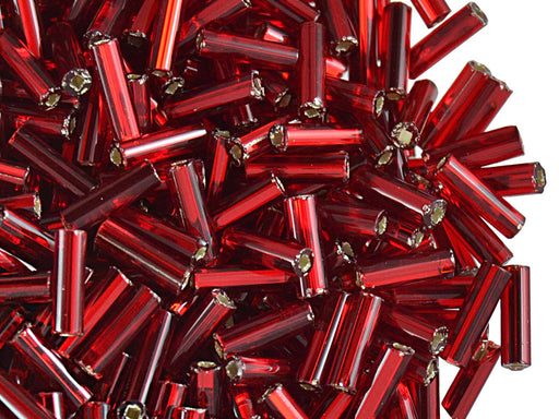 20 g Bugles Preciosa Ornela, Round Profile, Square Hole, 7x2.1mm, Dark Red Transparent Silver Lined, Czech Glass