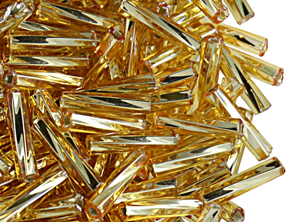 20 g Bugles Preciosa Ornela, Round Twisted, Square Hole, 9x2.1mm, Gold Transparent Silver Lined, Czech Glass