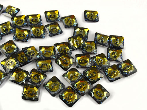 2 pcs Swarovski Elements 3017 Square Button, 12mm, Crystal Tabac M-Foiled, Czech Glass