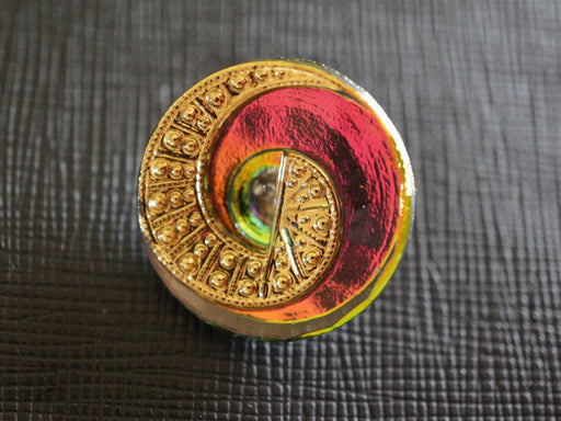1 pc Czech Glass Button, Red Pink Gold, Hand Painted, Size 10 (22.5mm)