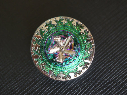 1 pc Czech Glass Button, Green Purple Vitrail Gold Ornament, Hand Painted, Size 10 (22.5mm)