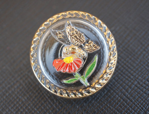 1 pc Czech Glass Button, Crystal Golden Butterfly Red Flower, Hand Painted, Size 10 (22.5mm)