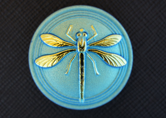 1 pc Czech Glass Cabochon Blue Green Matte Gold Dragonfly (Smooth Reverse Side), Hand Painted, Size 14 (32mm)
