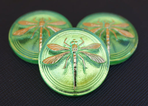 1 pc Czech Glass Cabochon Green Gold Dragonfly (Smooth Reverse Side), Hand Painted, Size 14 (32mm)